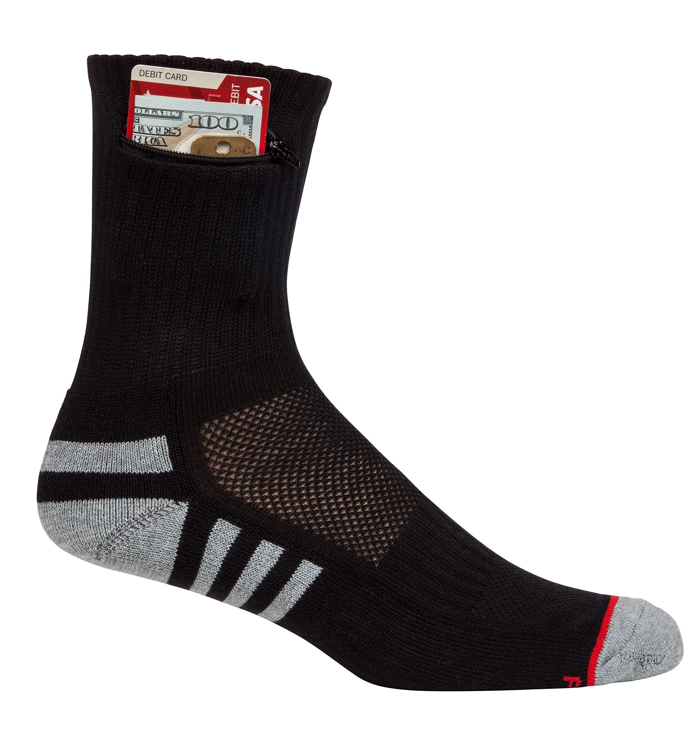 Pocket Socks Men's Athletic Travel Ankle Socks with Hidden Zip Security Pocket for ID, Key or Cash Money, One Size Fits Most (Black, 1) by Pocket Socks