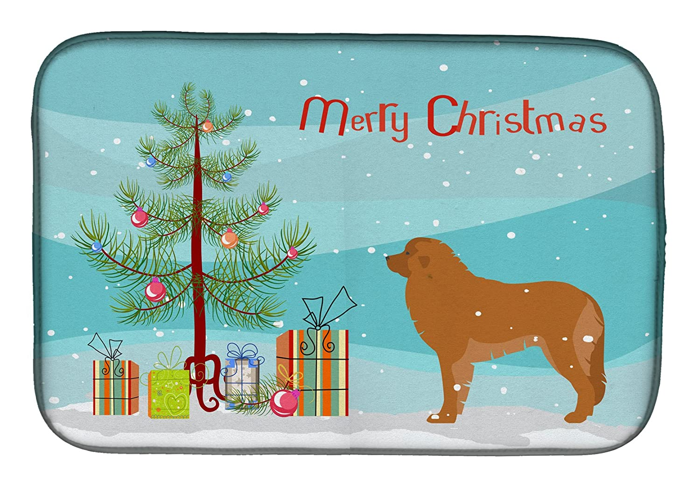 Caroline 's Treasures bb2976ddmレオンベルガーMerryクリスマスツリーディッシュ乾燥マット、14 x 21、マルチカラー   B07BQHFPC2
