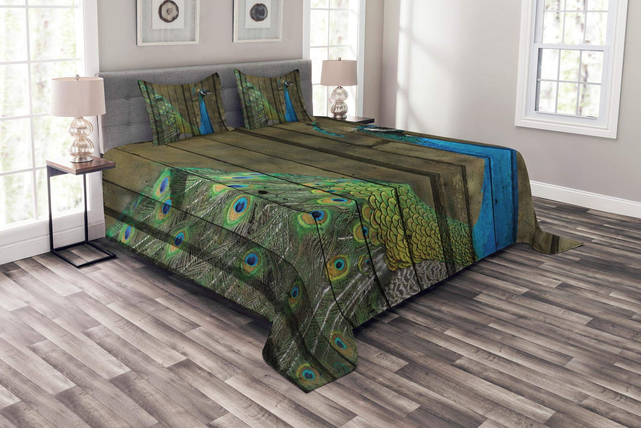 Lunarable Peacock Bedspread Set King Size, Peacock Mural on The Wall Royal Mythological Animal Represents Patience Art, Decorative Quilted 3 Piece Coverlet Set with 2 Pillow Shams, Brown Green Teal
