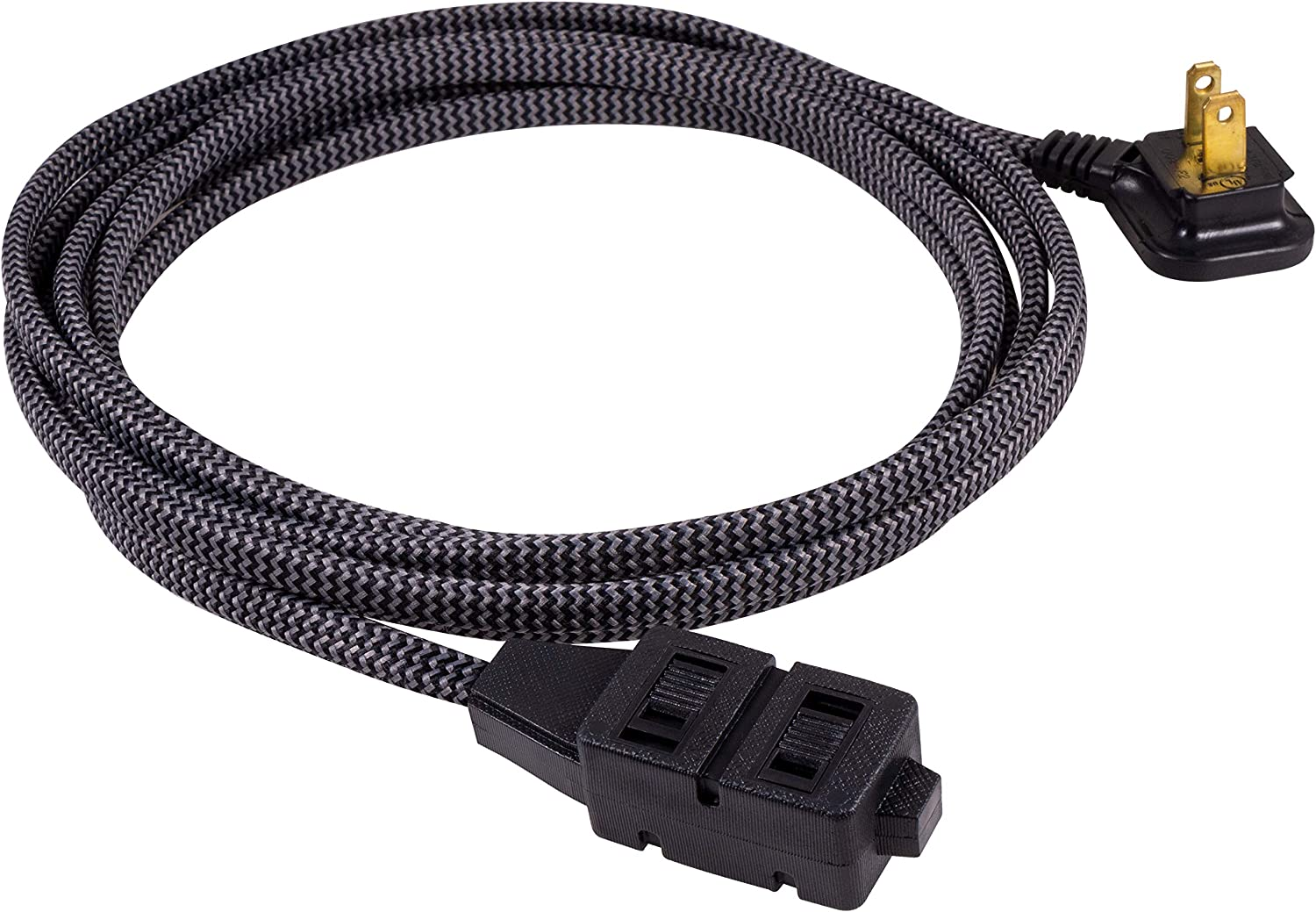 GE, Gray & Black 12 Ft Extra-Long Designer Braided Extension, 3 Strip, 2 Prong Outlets, Flat Plug, Tangle-Free Power Cord, Perfect For Home, Office or Kitchen, Ul Listed, 42386