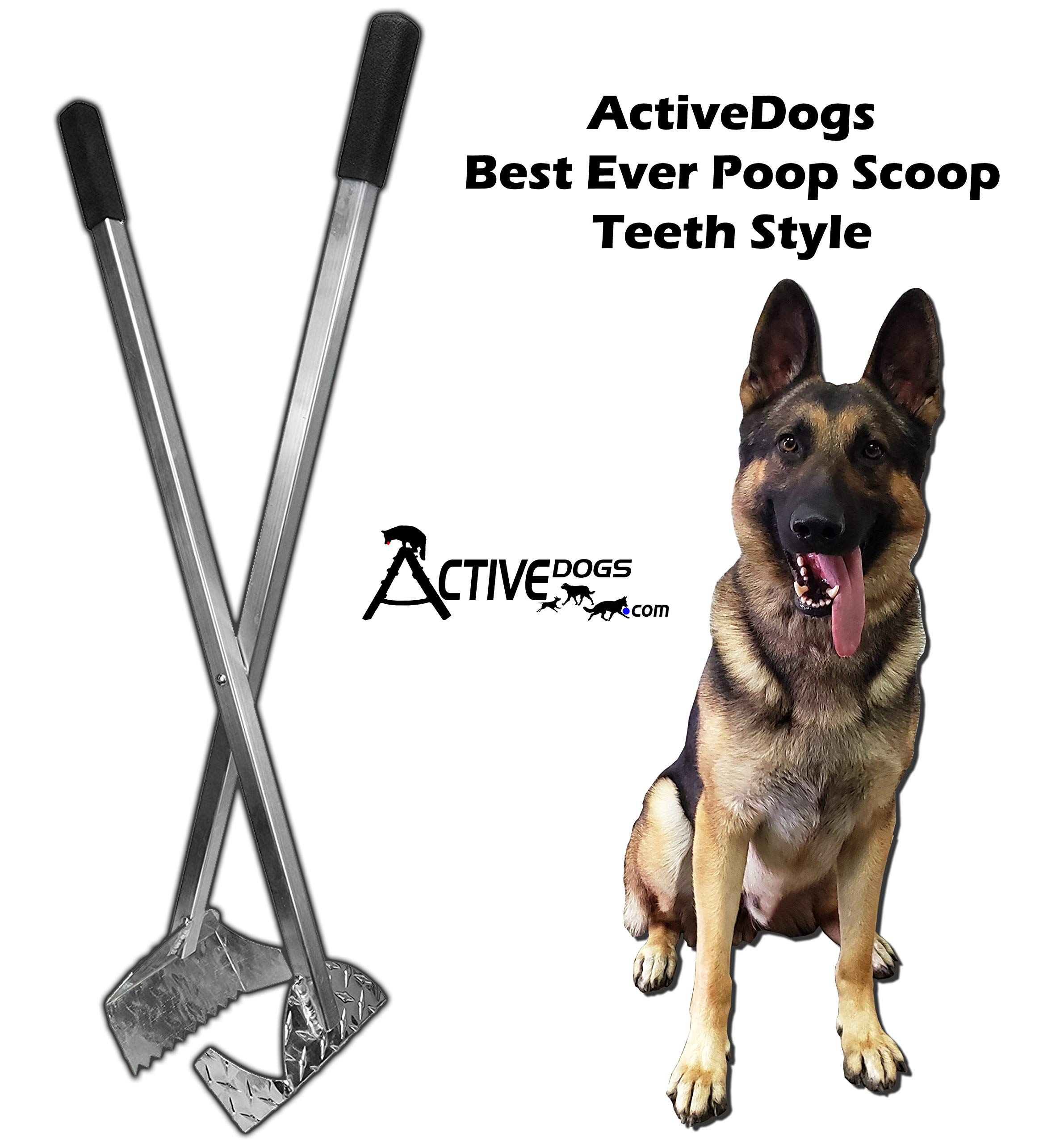 Activedogs Best Ever Dog Poop Scooper - All Aluminum Design Heavy Duty & Durable Waste Removal Shovel Scoop Tool - Built to Last - Made in The USA (Teeth Style) by Activedogs
