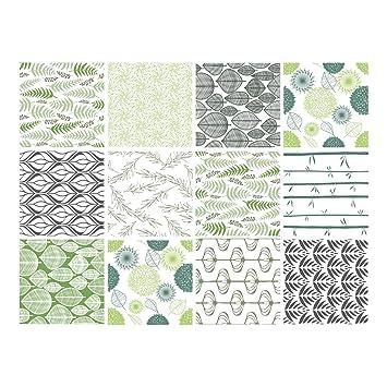 Adhésif Carrelage Carreaux De Ciment Natur Green 12 Pièces 15 X 15 Cm