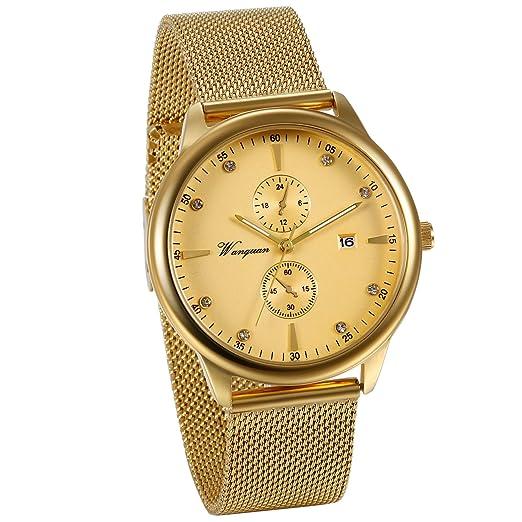 fbcf764a0338 JewelryWe Reloj Oro Dorado para Hombre