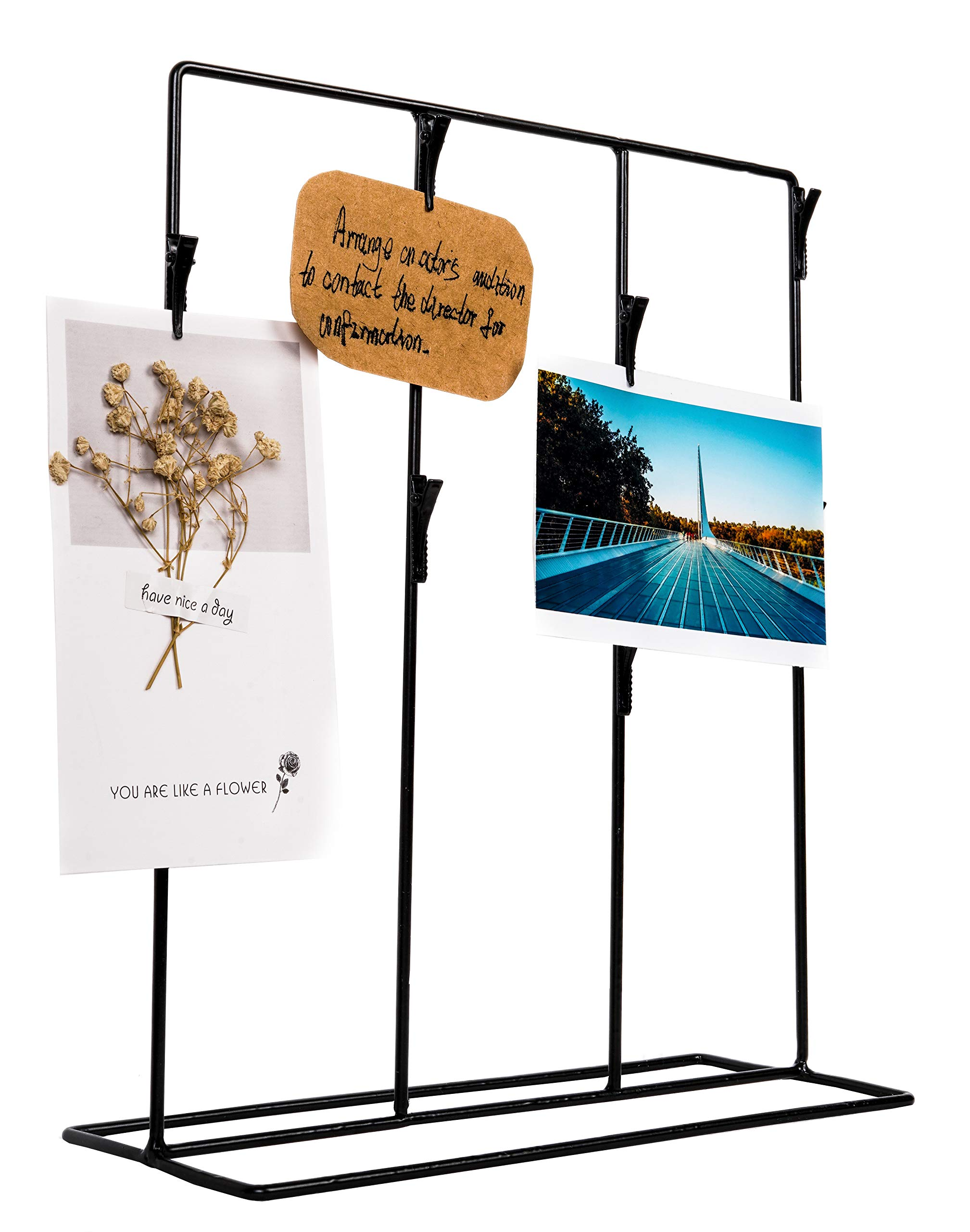 Black Clip Stand Photo Holder - Holds Eight 4x6 Pictures - Tabletop Decor- Picture Display - Black Iron - Black Metal Clips - Simple Modern - DIY Project by Space Art Deco