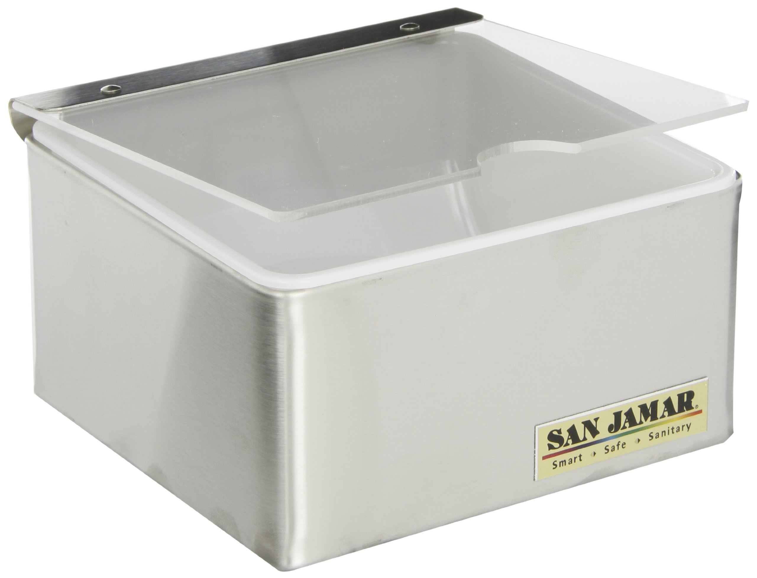 San Jamar B4061INL Stainless Steel Condiment Center with Individual Notched Lid, 6'' Width x 3-1/2'' Height x 5-3/4'' Depth