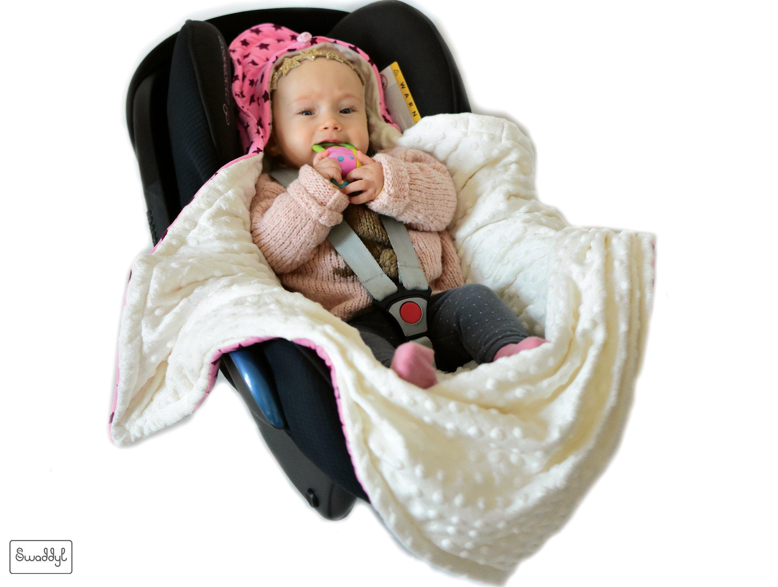 SWADDYL Baby girl swaddle blanket I car seat I stroller I hooded I bunting I newborn I Minky plush and cotton I Made in Europe (RoseHeart) by Swaddyl (Image #3)