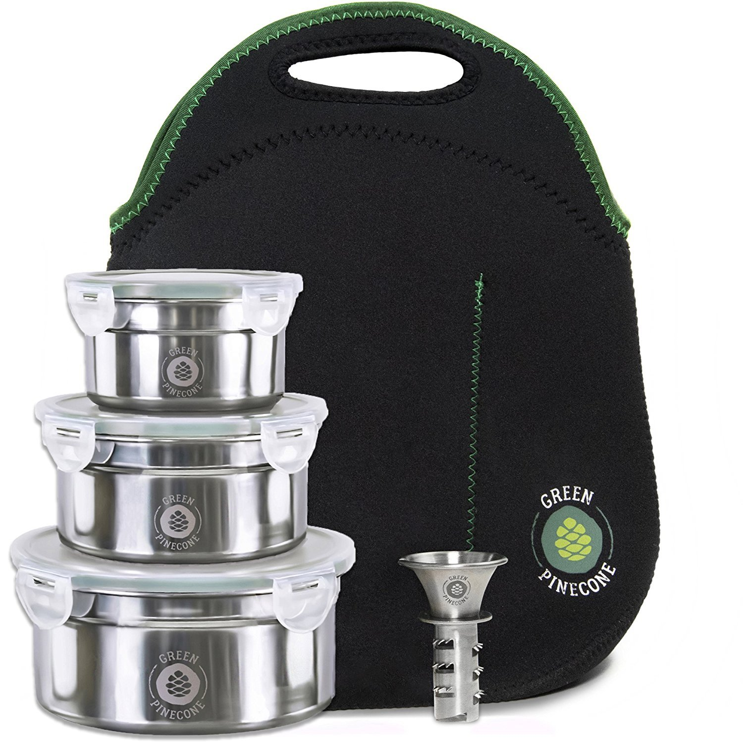 Leakproof Stainless Steel Lunchbox Set. 3 Containers & Thermal Bag: Keep Food Warm or Cool at College, University, Office, School & Travel. Leak Proof Storage. Large, Medium & Small Tins. TWO BONUSES. Green Pinecone
