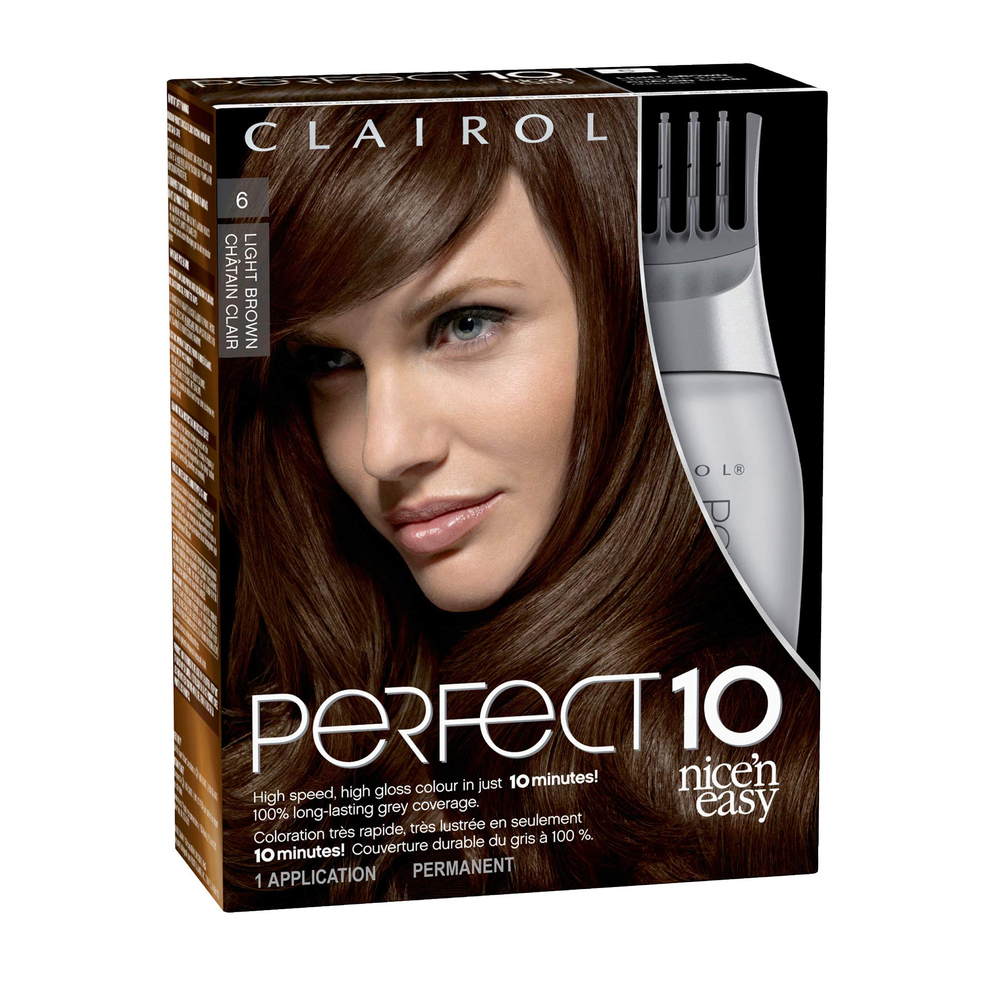 Clairol Perfect 10 By Nice 'N Easy Hair Color 006 Light Brown Chocolate Shake 1 Kit (Pack of 2) (PACKAGING MAY VARY) by Clairol