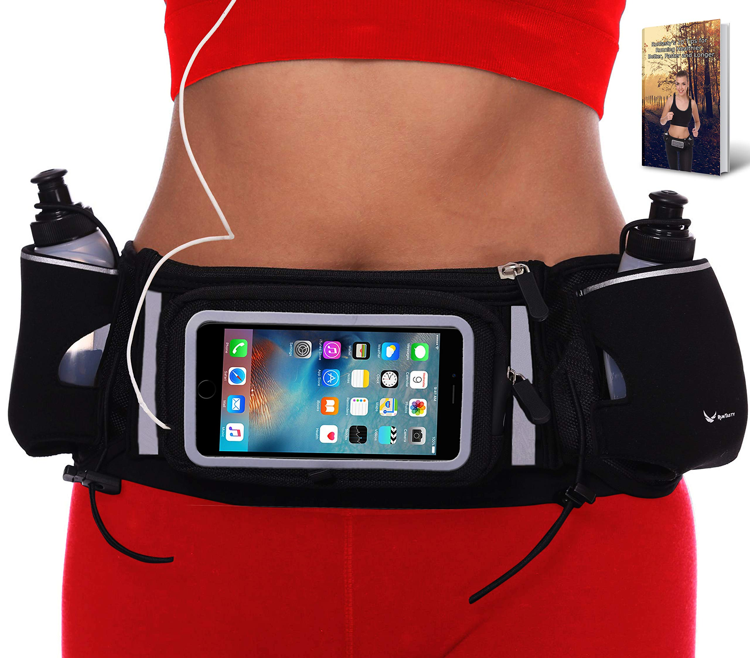 Runtasty [Voted No.1 Hydration Belt] Winners' Running Fuel Belt - Includes Accessories: 2 BPA Free Water Bottles & Runners Ebook - Fits Any iPhone - w/Touchscreen Cover - No Bounce Fit and More! by Runtasty