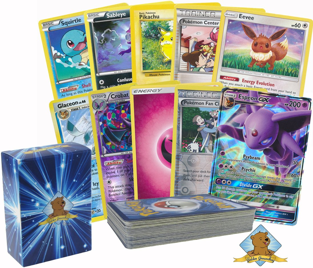 Pokemon 50 Card Lot with Eevee and 1 Eeveelution GX, Rares Foils Energy No Duplication By Golden Groundhog