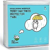 Milddreams Waterproof Mattress Protector Pad Twin - Plastic Bed Cover - Waterproof Fitted Sheet (39x75+14 inch Deep…