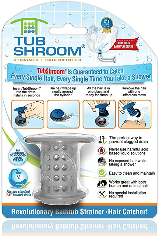 TubShroom The Revolutionary Tub Drain Protector Hair Catcher Snare Strainer