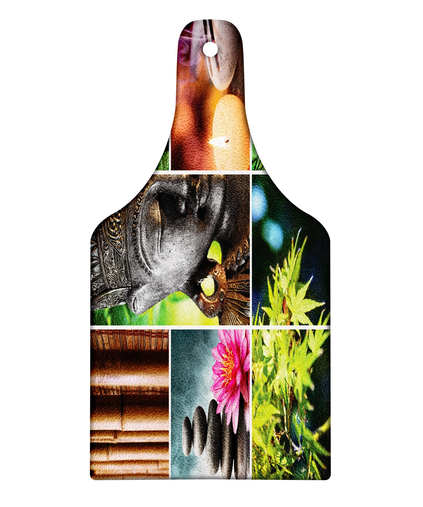 Lunarable Spa Cutting Board, Oriental Culture Mosaic Meditation Themed Aroma Candles Water Sounds Nature, Decorative Tempered Glass Cutting and Serving Board, Wine Bottle Shape, Umber Lime Green Pink