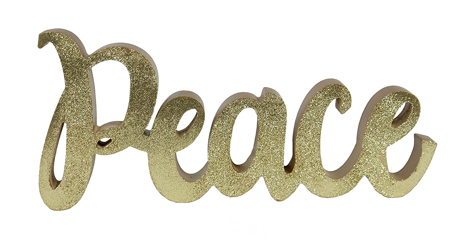 "Windy Hill Collection 12"" x 5.5"" Freestanding Gold Glitter Peace Cutout Natural Wood Block Home Décor 718140"