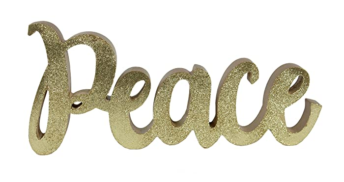 """Windy Hill Collection 12"""" x 5.5"""" Freestanding Gold Glitter Peace Cutout Natural Wood Block Home Décor 718140"""