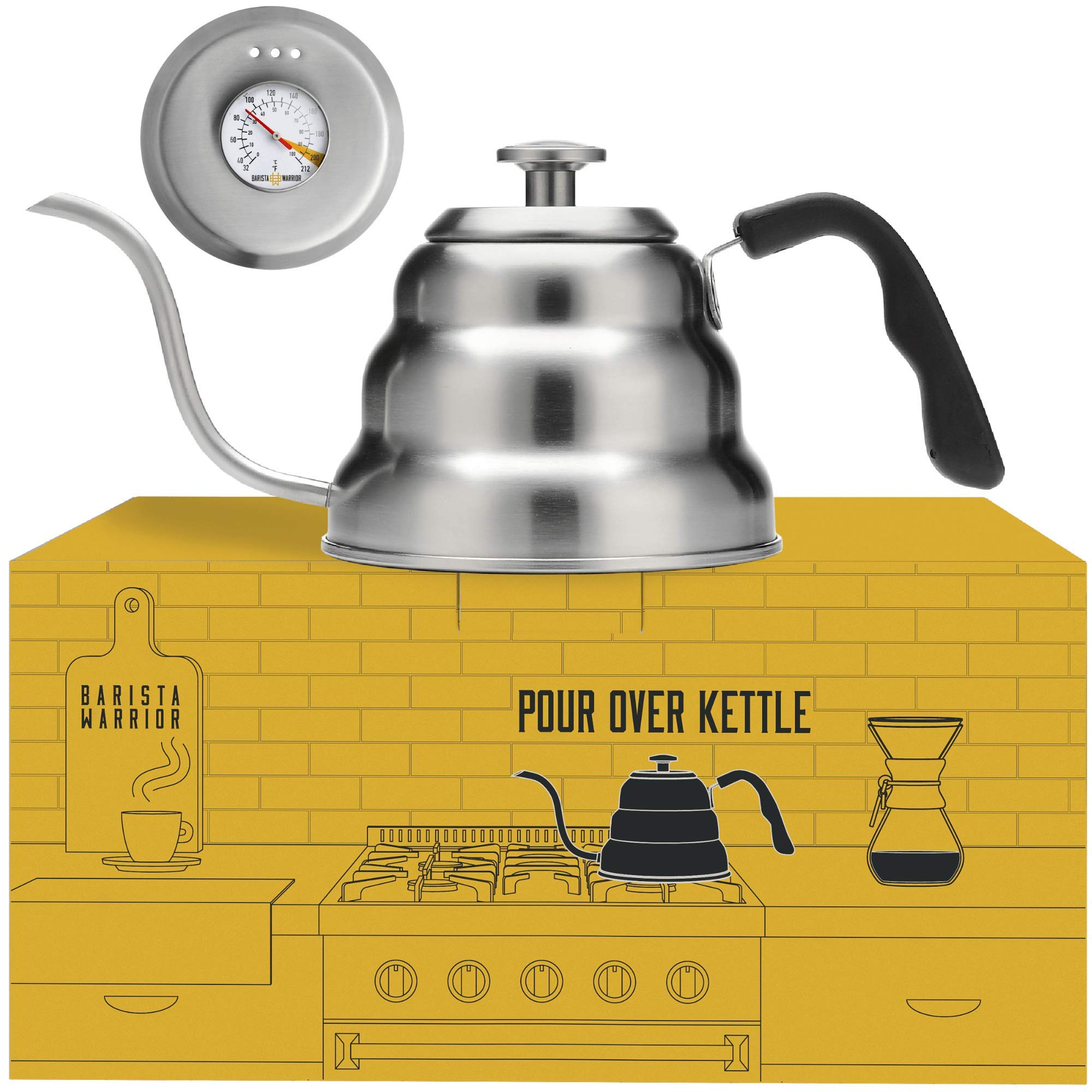 Pour Over Coffee Kettle with Thermometer for Exact Temperature - Gooseneck Pour Over Kettle for Drip Coffee and Tea (1.0 Liter | 34 fl oz) by Barista Warrior
