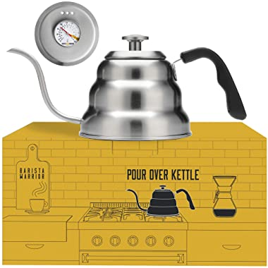 Pour Over Coffee Kettle with Thermometer for Exact Temperature - Gooseneck Pour Over Kettle for Drip Coffee and Tea (1.0 Liter   34 fl oz)