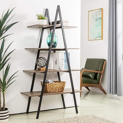 Glitzhome 4-Tier Wood Ladder Bookcase Modern A Frame Ladder Display Shelf A Shape Industrial Display Shelf Ladder Storage Rack Freestanding Bookshelf