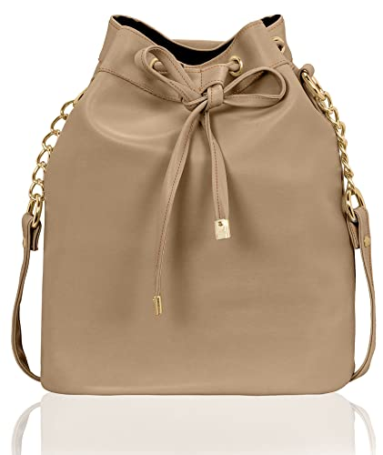 e2f614e02d5467 Kleio Stylish Solid Color Bucket Sling Bag for Women / Girls (Beige)  (EDK1036KL