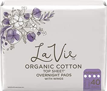 La Vie Organic Cotton Top Sheet* Feminine Pads with Wings, Overnight, Long, 40 Count (4 Packs of 10) (Packaging May Vary)