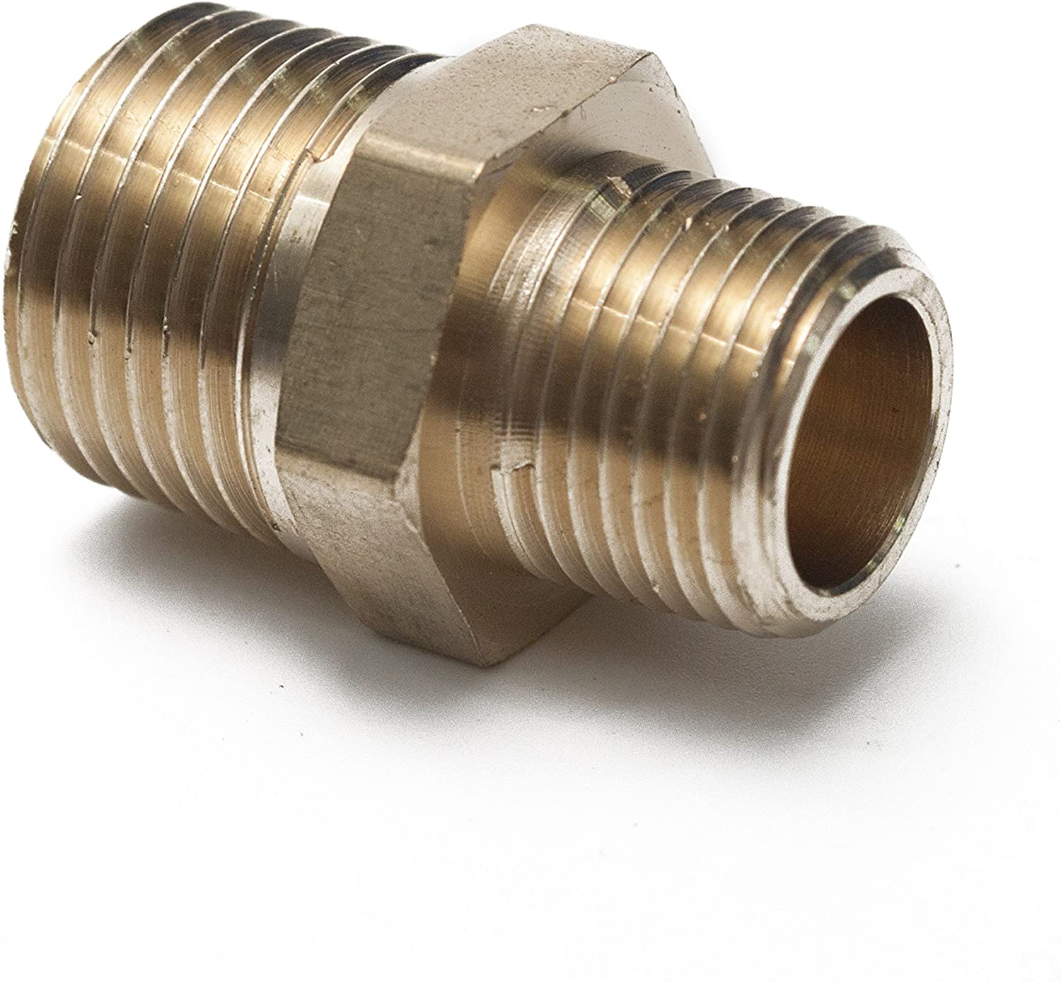 Pack of 5 LTWFITTING Brass Pipe Hex Reducing Nipple Fitting 1//2-Inch x 3//8-Inch Male NPT