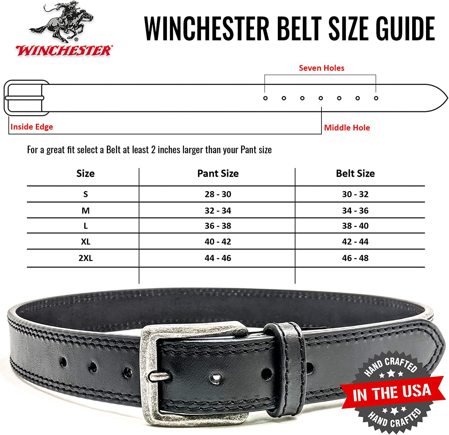 2XL Made in the USA Winchester Genuine Leather Unisex Belt 34 MM Brown L XL
