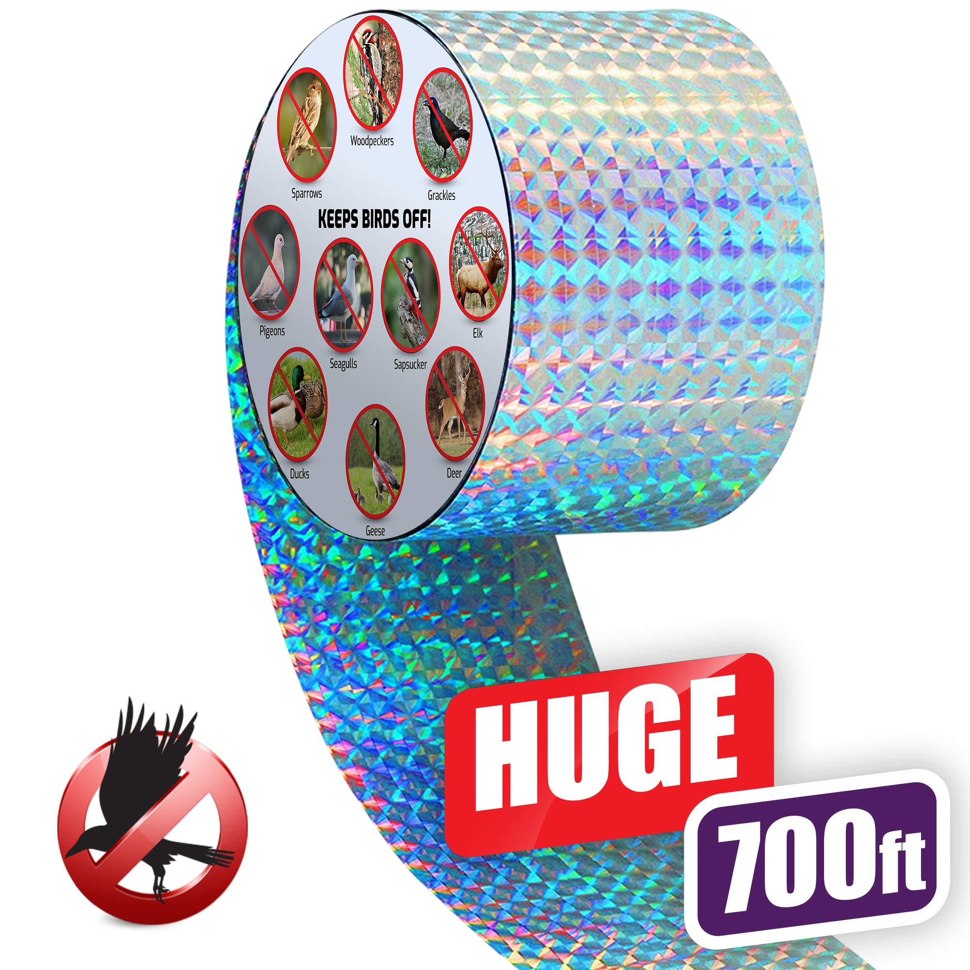 Premium Quality Bird Deterrent Reflective Scare Tape Ribbon 700 ft Long - Pest Control Dual-sided Repellent For Pigeons, Grackles, Woodpeckers, Geese, Herons, Blackbirds & More - Sturdy & Ultra Strong by BRITENWAY