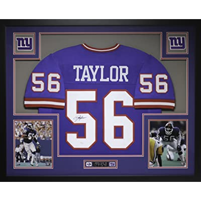 808552b0d7e Lawrence Taylor Autographed Blue Giants Jersey - Beautifully Matted and  Framed - Hand Signed By Lawrence Taylor and Certified Authentic by JSA COA  ...