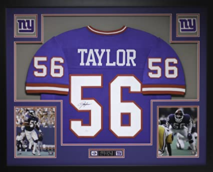 7f5a39ab1 Lawrence Taylor Autographed Blue Giants Jersey - Beautifully Matted and  Framed - Hand Signed By Lawrence