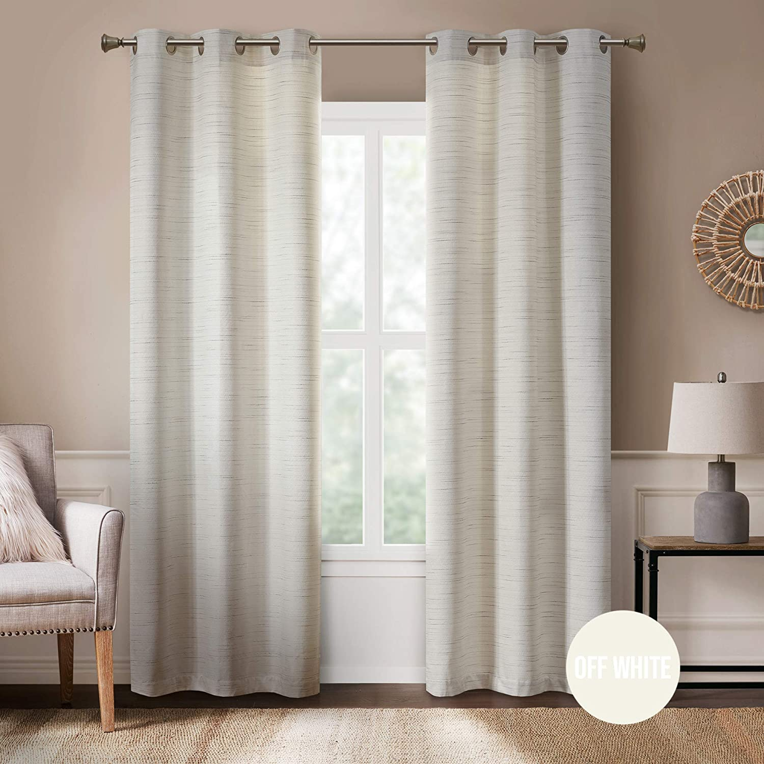 Rustic Modern Curtains for Living Room   Farmhouse Bedroom Window Treatment   Grasscloth Faux Linen   Room Darkening Grommet Top Decor   Off/White 40x84 Inches - 2 Panels