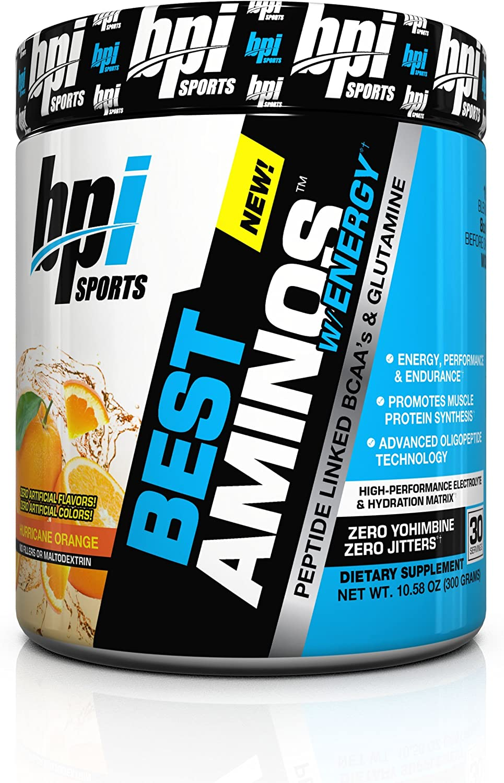 BPI Sports Best Aminos with Energy Peptide Linked BCAAs and Glutamine, Hurricane Orange, 10.58 Ounce