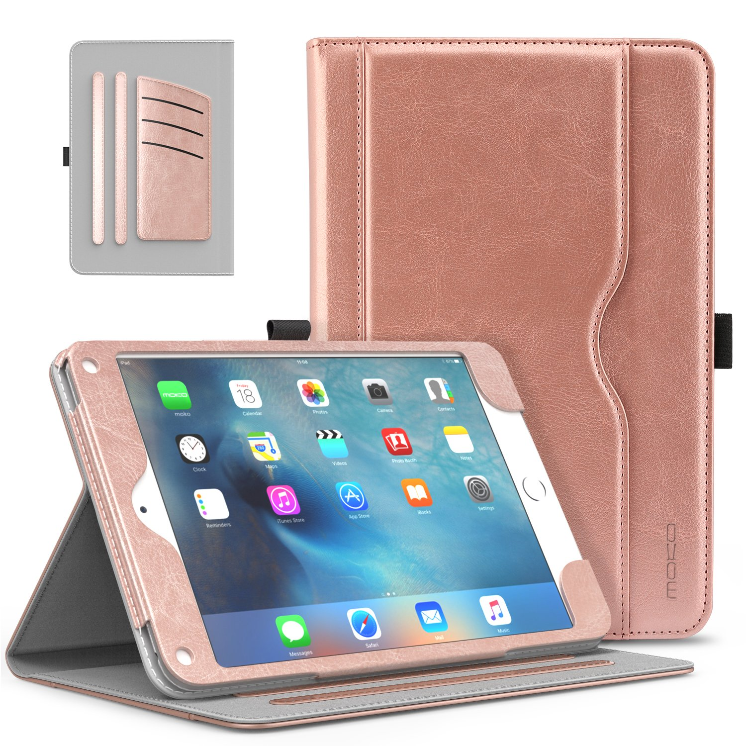 MoKo iPad Mini 4 Case - Slim Folding Stand Folio Cover Case for Apple iPad Mini 4 7.9 Inch 2015 Release Tablet with Auto Wake/Sleep and Document Card Slots, Multiple Viewing Angles, Rose Gold