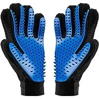 BYETOO Pet Grooming Glove,Pet Ninja Glove, Amazingly cat glove, Gentle Deshedding Brush Glove - Efficient Pet Hair Remover Mitt - Enhanced Five Finger Design - Perfect for Dog & Cat - 1 Pair (Dark Blue)