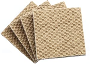 """DURA-GRIP® Heavy Duty 4"""" Square, 3/8"""" Thick Non-Slip Rubber (No glue or nails) Furniture Floor Pads, Protectors-Set of 4"""