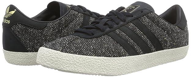adidas Originals Gazelle 70s, Sneakers Basses Homme - Gris - Grau (Core Black/Core Black/Chalk White), 44