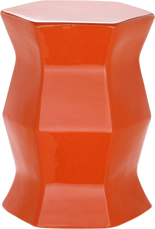 Safavieh Modern Hexagon Ceramic Decorative Garden Stool, Orange