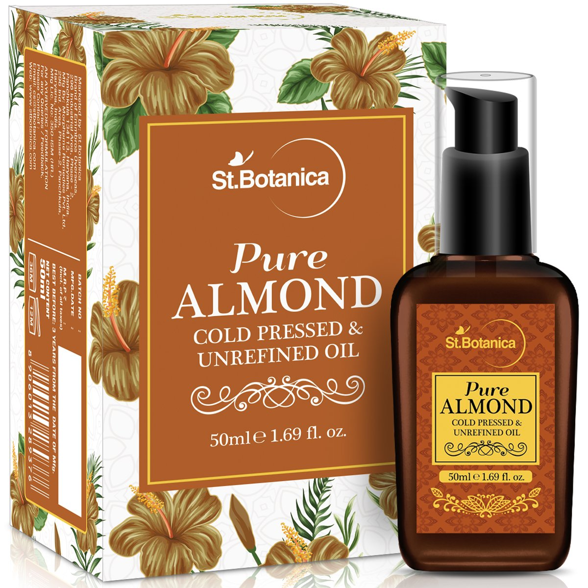 StBotanica Pure Sweet Almond Coldpressed Oil, 50ml (For Hair & Skin) product image