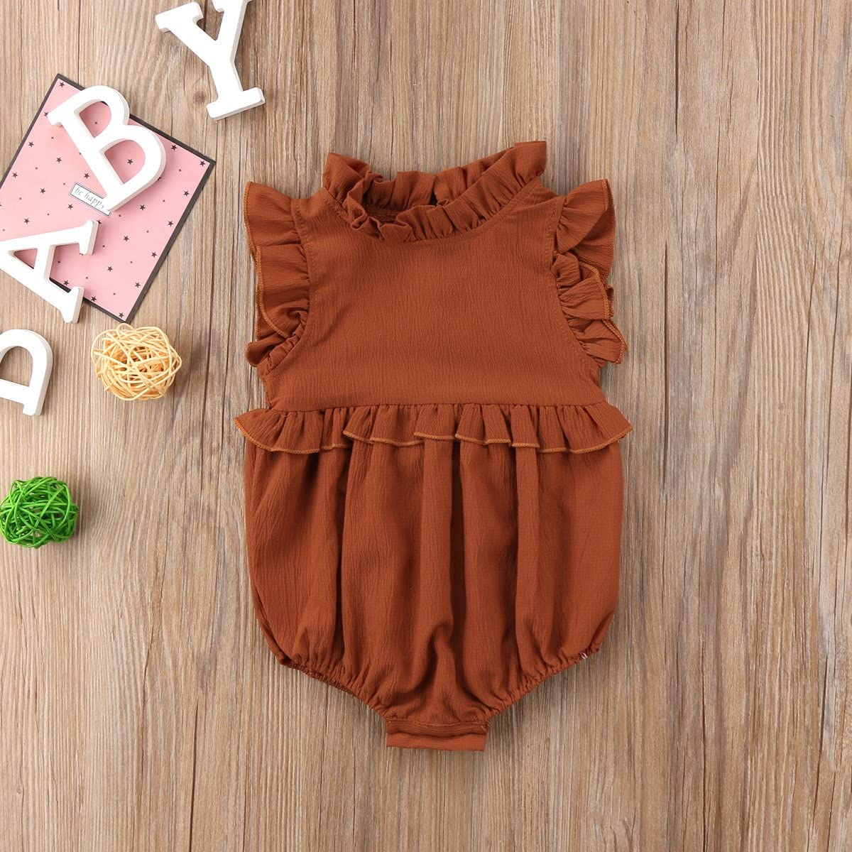 Wide.ling Newborn Rompers Girl Infant Baby Outfit Solid Color Stand Collar Sleeveless Ruffled Bodysuit for 0-24 Months