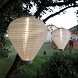 """2 White Nylon Solar Hanging Lanterns, 10"""" Teardrop Shape, Weather Resistant, Rechargeable Battery Included"""