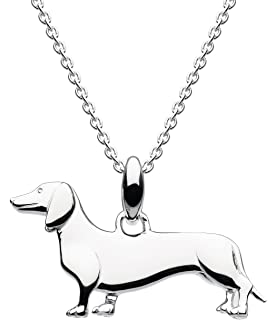 Dew Sterling Silver and Gold Plate 'Heart of Gold' Labrador Dog Necklace of Length 45.7cm