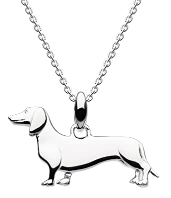 Dew Sterling Silver Sausage Dog Necklace of Length 45.7cm 4rQ0wEIWs