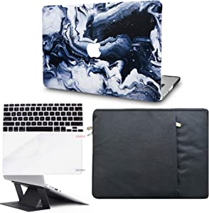 "KECC Laptop Case for MacBook Air 13"" Retina (2020, Touch ID) w/Keyboard Cover + Sleeve + Screen Protector + Laptop Stand (5 in 1 Bundle) Plastic Hard Shell Case A2179 (Black Grey Marble)"