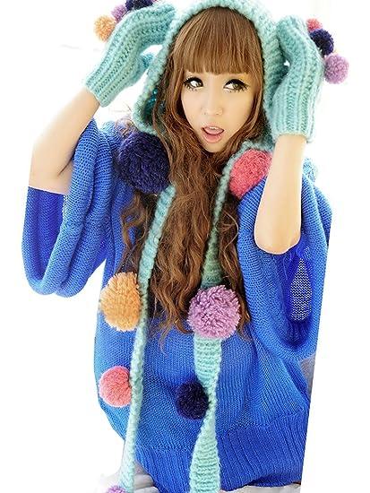 Jelinda chaude d hiver en tricot Bonnet tricoté pour fille boule Golves Ensemble  bonnet écharpe 32181c834d2