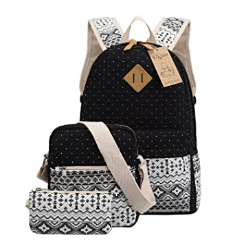 e545147f879a Ulgoo School Backpacks Canvas Teen Girls Backpacks Casual Shoulder bags  (Black)  Amazon.in  Toys   Games