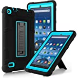 Fire 7 Case, Elegant Choise Fire 7 Case with Kickstand, High Impact Resistant Hybrid Three Layer Defender Shockproof Protective Cover Case for Amazon Fire 7 Inch Tablet (5th Generation) (Black/Blue)