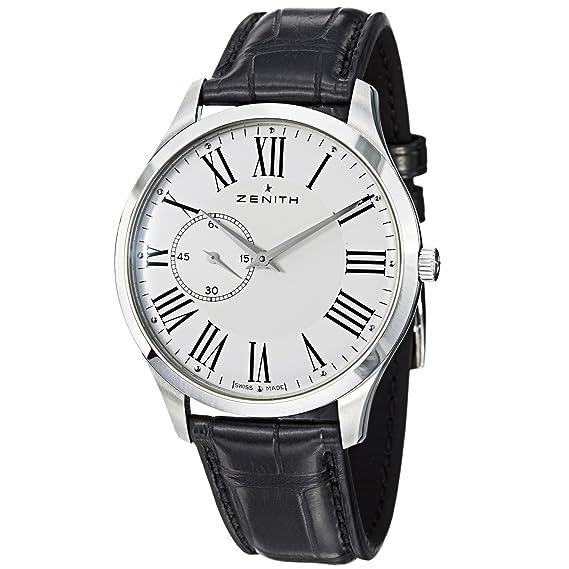 Zenith hombre 032010681.11 C Elite Ultra delgada correa de cuero negro reloj