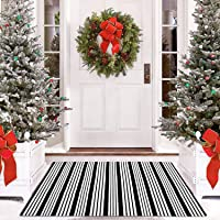 Cotton Black and White Striped Rug Outdoor Doormat 27.5 x 43 Inches Washable Woven Front Porch Decor Outdoor Indoor…