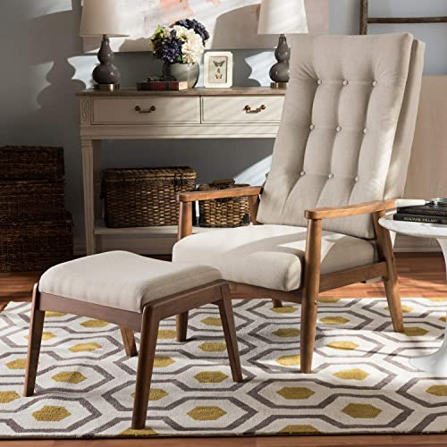 Baxton Studio Roxy Mid-Century Modern Upholstered Button-Tufted High-Back Lounge Chair and Ottoman Set Light Beige