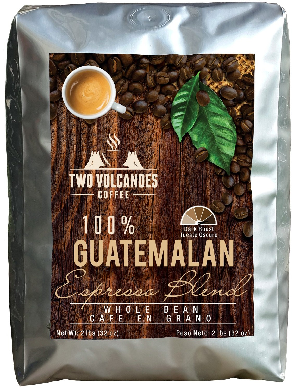 Two Volcanoes Espresso Coffee Beans - 2 Lbs - Guatemala Dark Roast Espresso Blend Whole Bean Coffee - Rare Single Origin Gourmet Beans. Get The Kick, Enjoy the Smoothness!