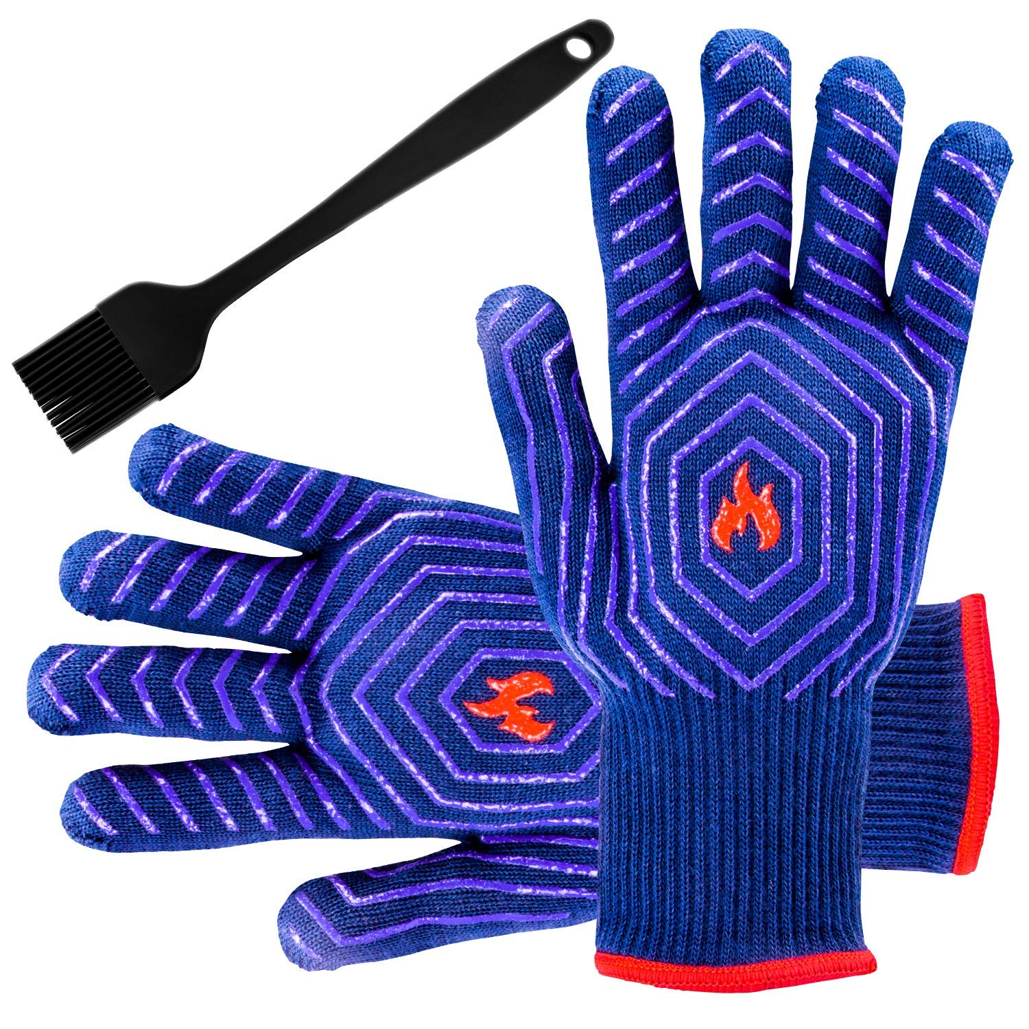 BBQ Grilling Gloves Barbecue Grill Gloves BBQ Oven Mitt Oven Gloves 932°F Heat Resistant Heavy Duty Cotton Cooking Gloves Silicone Insulated for Smoker, Camping Fire Pit, Outdoor Baking, Kitchen
